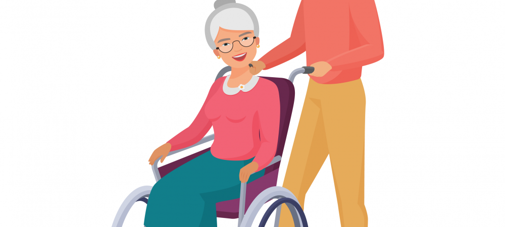 Cartoon rendering of a man pushing an elderly woman in a wheelchair.