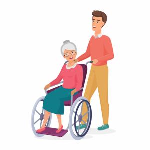 Cartoon rendering of a man pushing an elderly woman in a wheelchair.