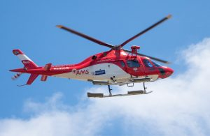A rescue helicopter in flight.