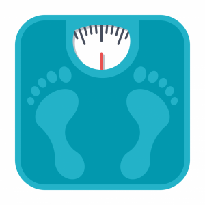 Cartoon rendering of a bathroom scale with foot imprints.
