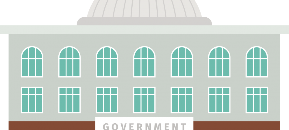 Cartoon rendering of a government building.