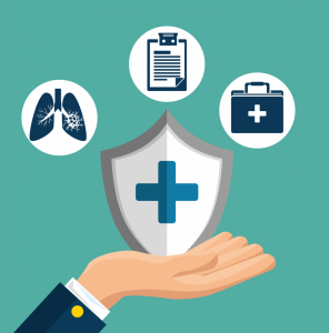 Cartoon rendering of a hand holding a health shield below lungs, a clipboard, and a briefcase.