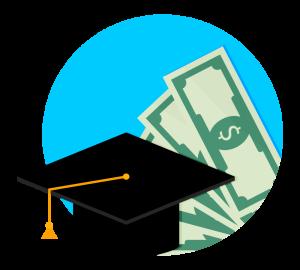 Cartoon rendering of a graduation cap in front of money.