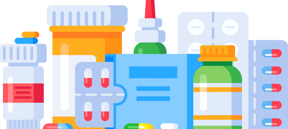 Cartoon rendering of various medications.