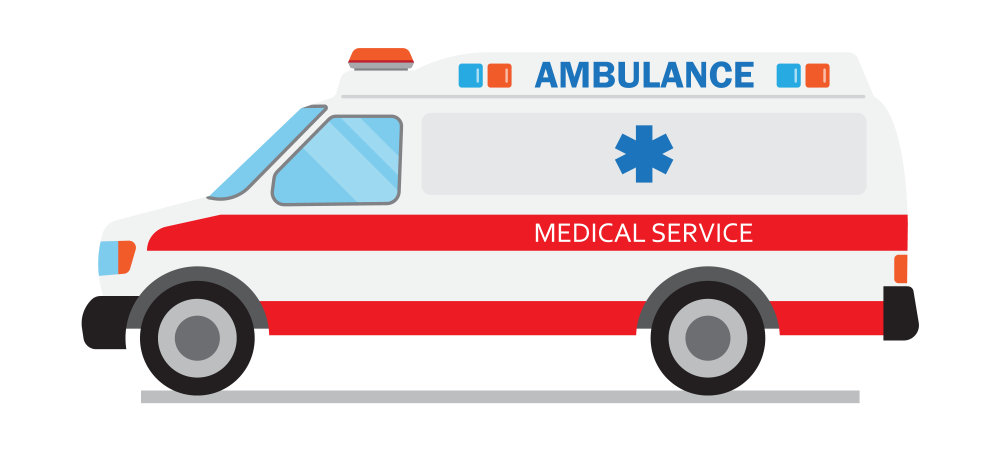 Cartoon rendering of an ambulance shown from the side.