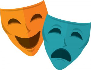 Cartoon rendering of drama masks.