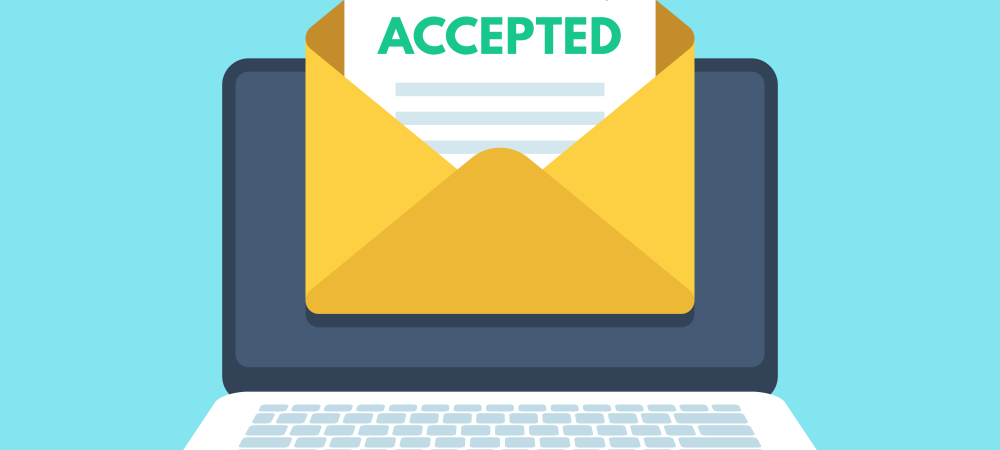 Cartoon rendering of an accepted college application inside an envelope in front of a laptop.