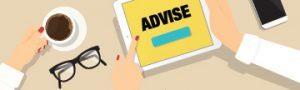 cartoon graphic of hands holding a tablet that says advise