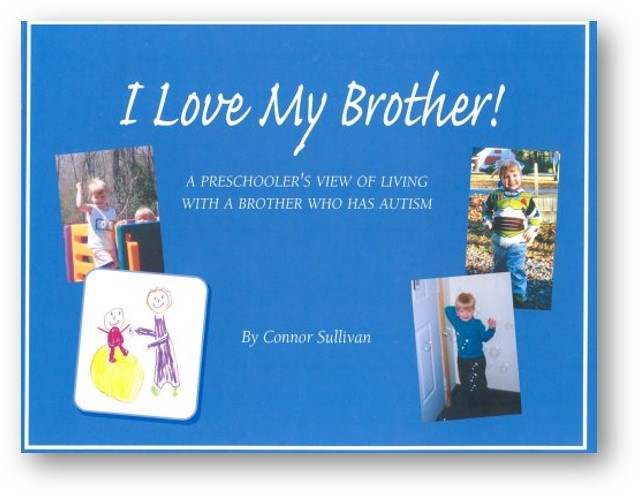 The cover of the book I Love My Brother by Connor Sullivan shows four images of two young children playing together.