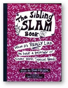 The cover of the Sibling Slam Book is designed to look like a composition notebook with marker drawings on it.