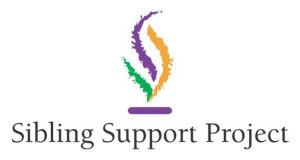 The logo of the Sibling Support Project is a three-colored flame.