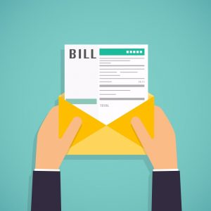 Cartoon rendering of a bill sticking out of an envelope held by two hands.