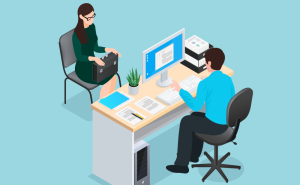 Cartoon rendering of a woman sitting across from a man at a desk during a job interview.