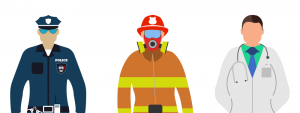 Cartoon rendering of a police officer, firefighter, and doctor.
