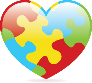 Cartoon rendering of the autism awareness heart.