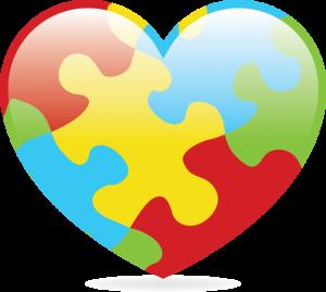 Cartoon rendering of the autism awareness heart.
