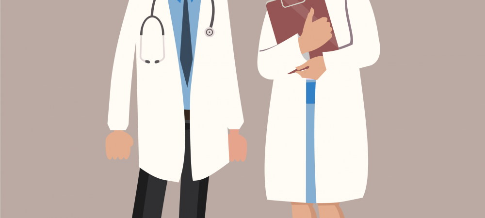 Cartoon rendering of a man and woman doctor.