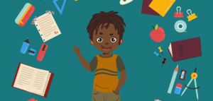 Cartoon rendering of a child surrounded by a circle of school supplies.