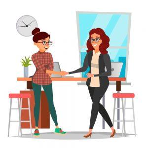 Cartoon rendering of two women shaking hands.