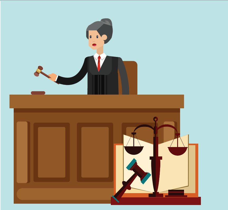 A woman wearing a robe who is a judge stands behind a desk holding a gavel. A gavel and balance are shown in the bottom right.