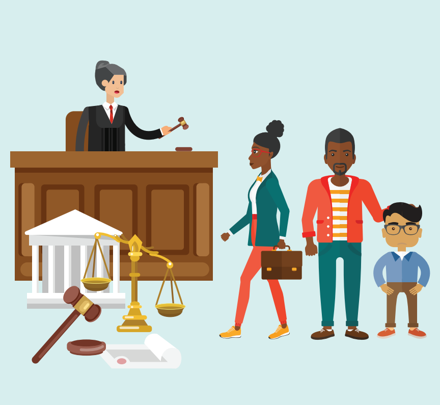 A man, boy, and woman with a briefcase stand before a judge. A gavel, courthouse, and gold scale are shown in the bottom left.