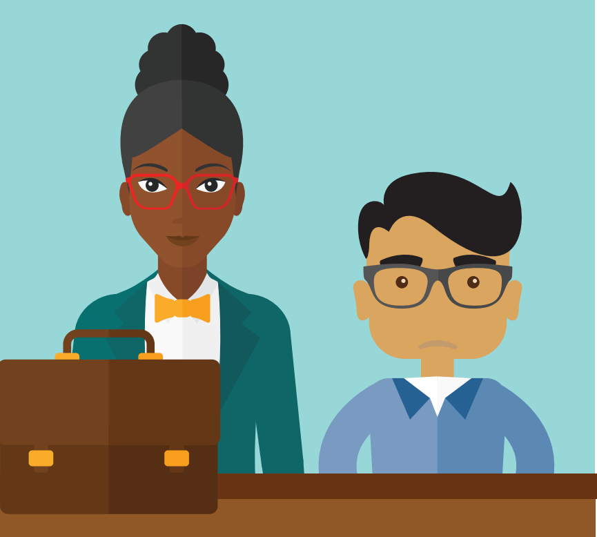 A woman with a briefcase stands next to a boy behind a desk.