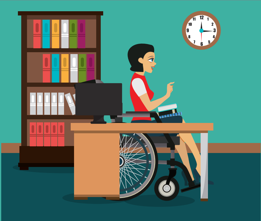 A woman in a wheelchair sits behind a desk with a computer in front of a bookshelf.