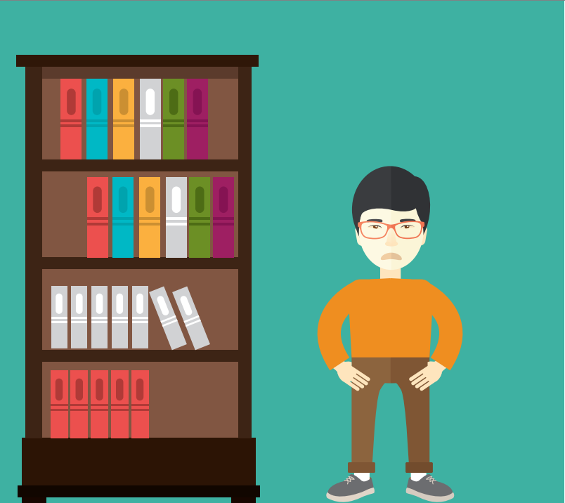 A frowning boy stands to the right of a tall bookshelf.