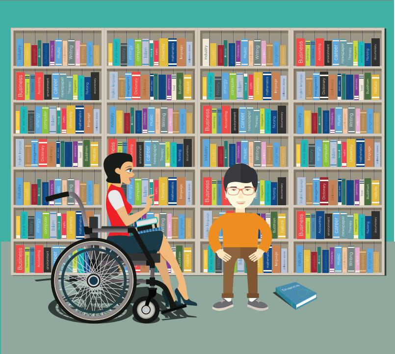 A woman in a wheelchair and a smiling boy are shown in front of a row of bookshelves.