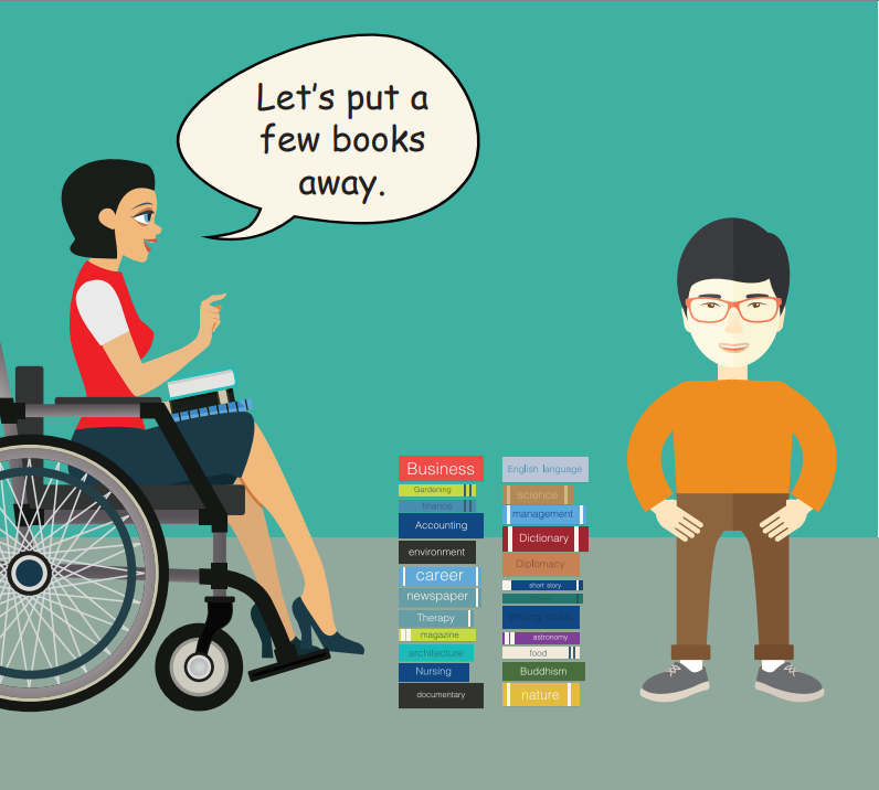 A smiling boy stands next to a large stack of books. A woman in a wheelchair on the left says,