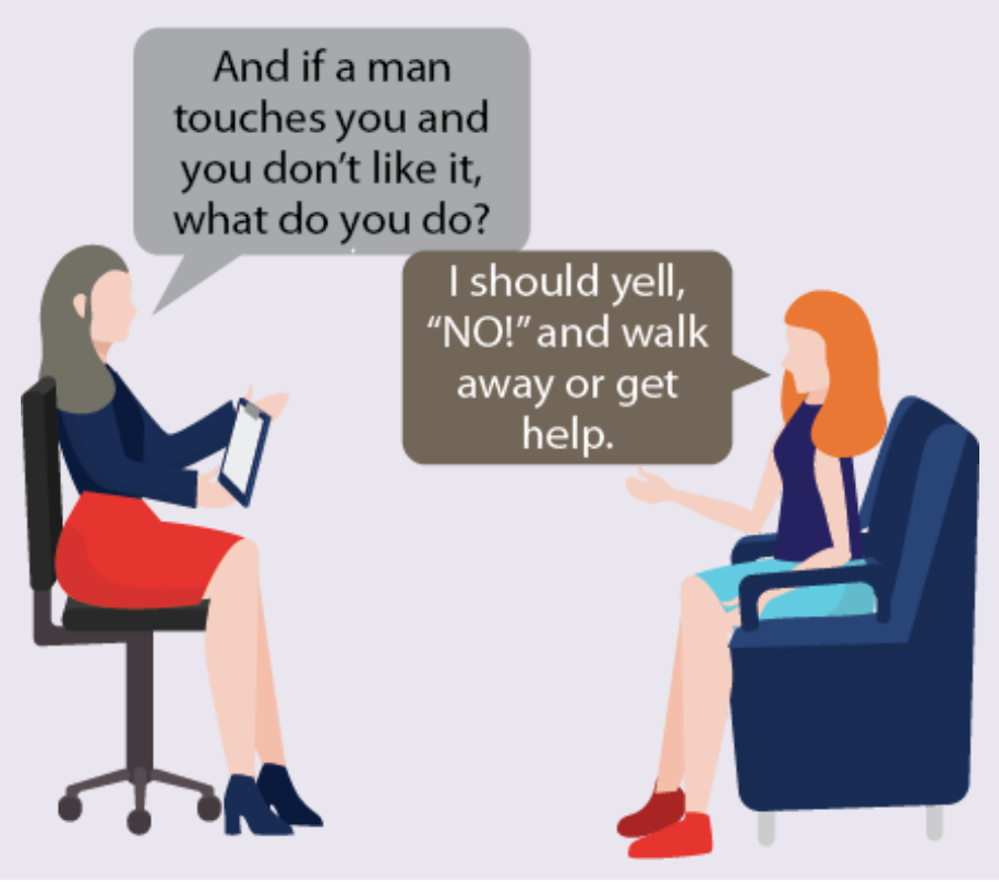 A therapist asks a woman what to do if she doesn't like being touched. The woman says to yell