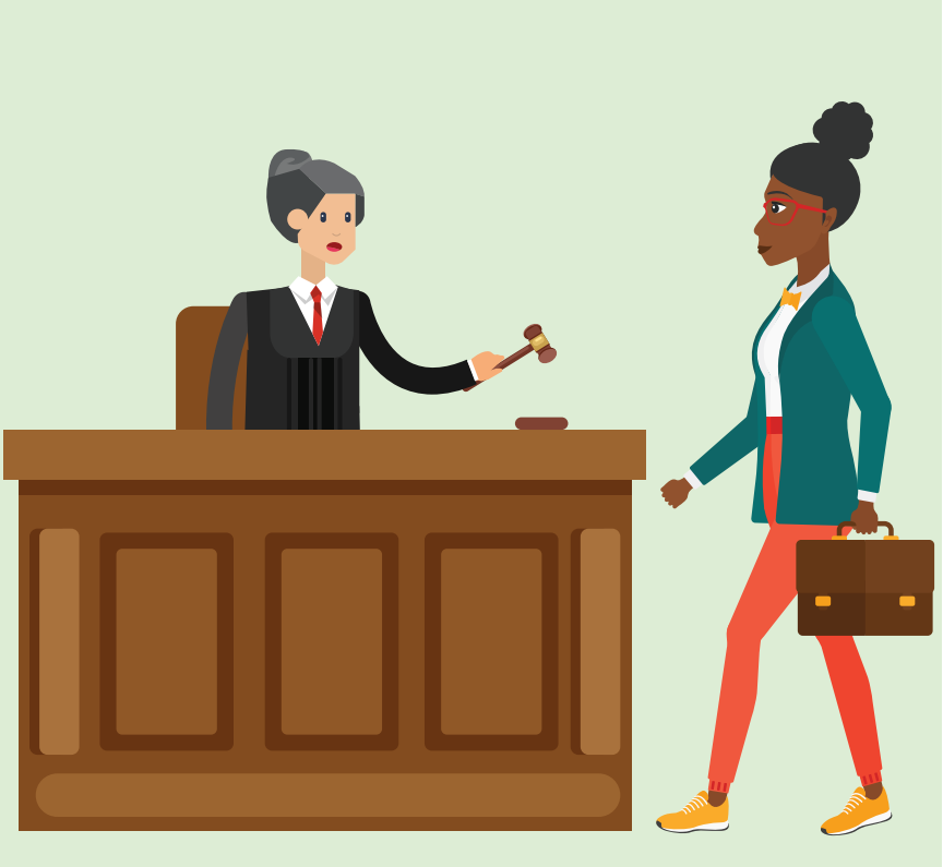 A woman carrying a briefcase walks toward a woman who is a judge standing behind a desk holding a gavel.