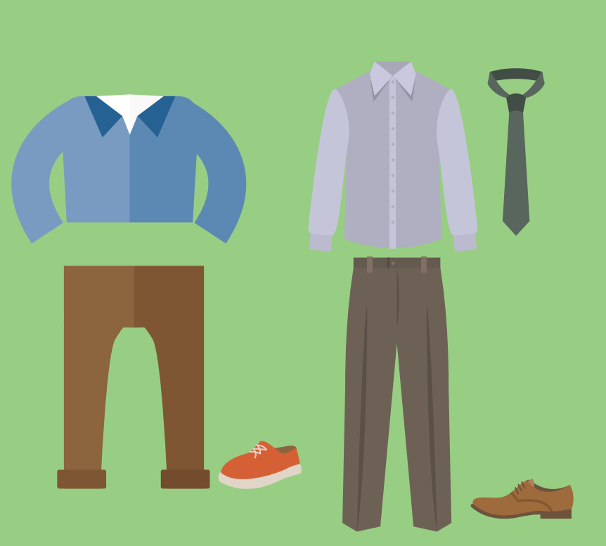 A shirt, pants, and sneaker are shown to the left of a collared shirt, dress pants, tie, and dress shoe.