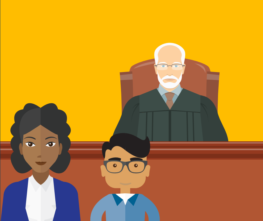A woman stands next to a boy in front of a judge wearing a robe sitting at a desk.