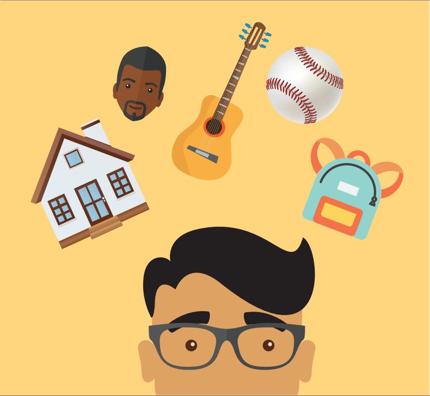 The top of a boy's head is shown with a house, man's face, guitar, baseball, and backpack above it.