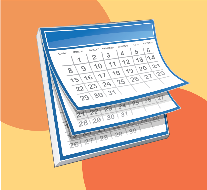 A calendar with several pages showing is shown in the center of the image.