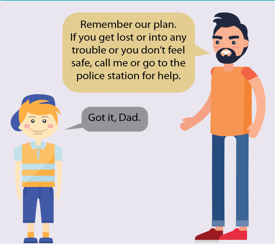 A dad tells his son to call him or go to the police station if he gets lost or feels unsafe. The son says,