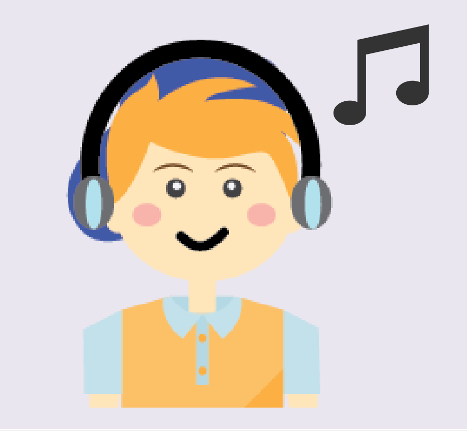 A smiling boy wears headphones with a music note next to his head.