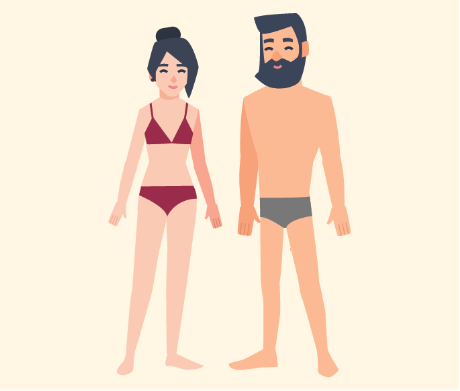 A woman smiling wearing only underwear standing beside a smiling man only wearing underwear.