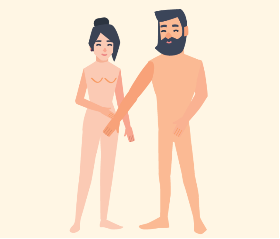 A man and woman smiling standing next to each other not wearing clothes. The man is touching the woman's leg.