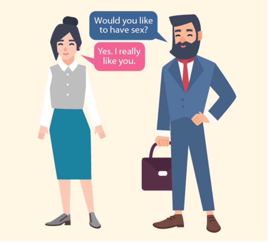 A man asks a woman,