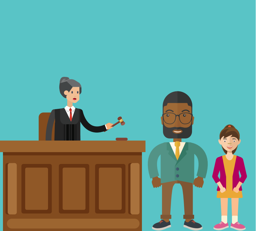 A man and a girl stand in front of a woman standing behind a desk who is a judge.