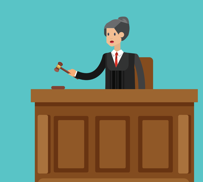 A woman wearing a robe who is a judge stands behind a desk holding a wooden hammer.