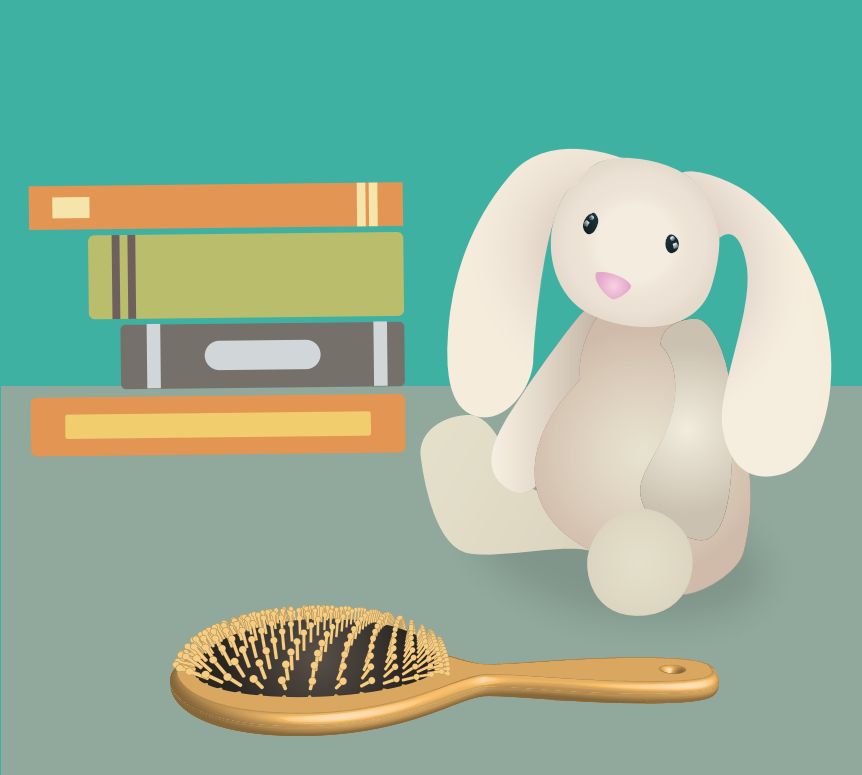 A stack of books, stuffed rabbit, and hairbrush are shown in the center of the image.