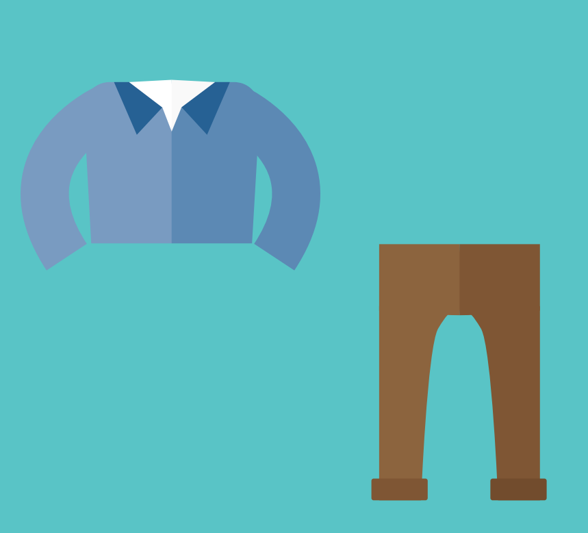 A shirt and pants are shown in the center of the image.