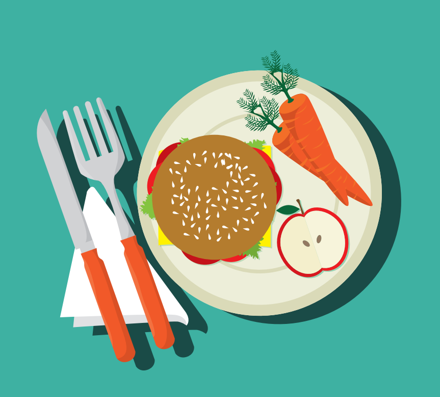 A knife and fork and plate with a hamburger, apple, and carrots are shown in the center of the image.