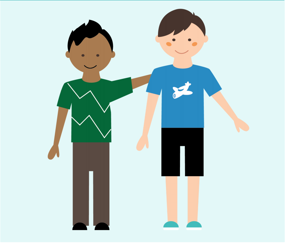 Two smiling boys stand together in the center of the image. One boy has his arm around the other boy,