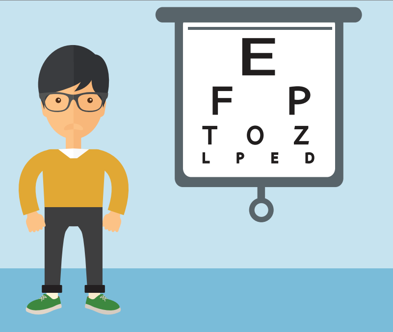 A boy stands to the left of an eyesight letter chart.