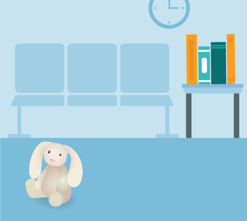 A waiting room with chairs, books, and a stuffed rabbit on the floor, and a clock on the wall.