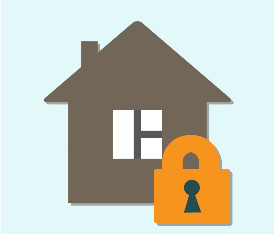 A cartoon of a house is shown next to a symbol of a lock in the center of the image.